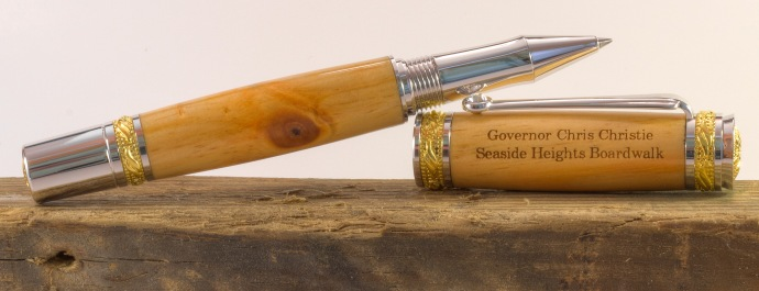Pen for Governor Christie made by John Greco of Greco Woodcrafting.