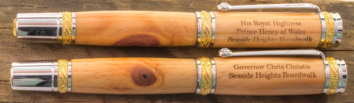 Pens by Master Pen maker John Greco of Greco Woodcrafting, commissioned to make pens for Prince Harry and Governor Christie.